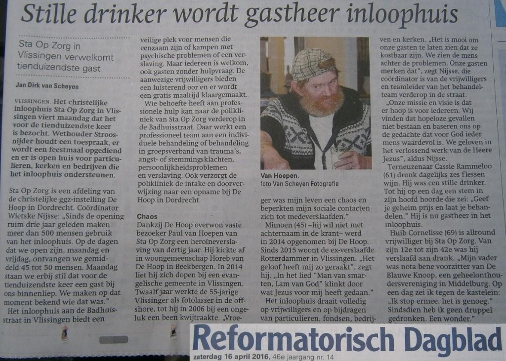 Artikel RD met interviews gasten inloophuis Sta Op Zorg vanwege 10.000 bezoeken in april 2016