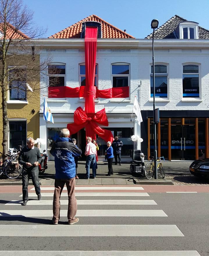 Het inloophuis van Sta Op Zorg was feestelijk ingepakt op 18 april 2016 vanwege de 10.000 bezoeken vanaf het begin.